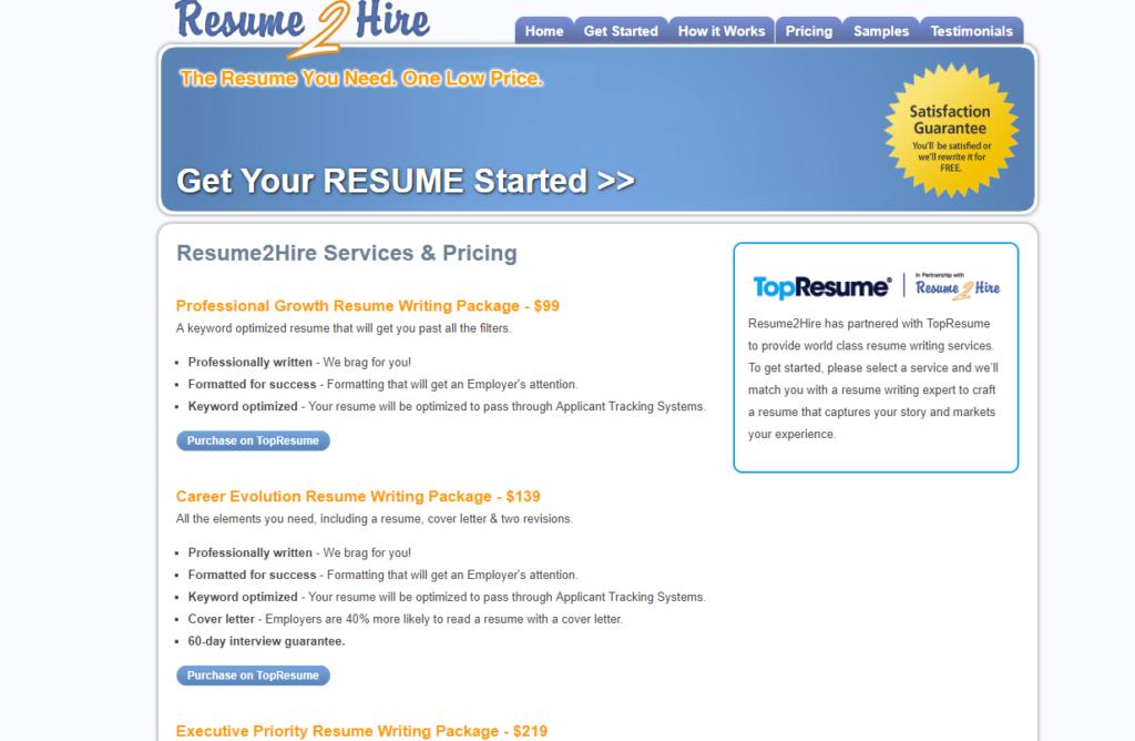 resume2hire-prices-list