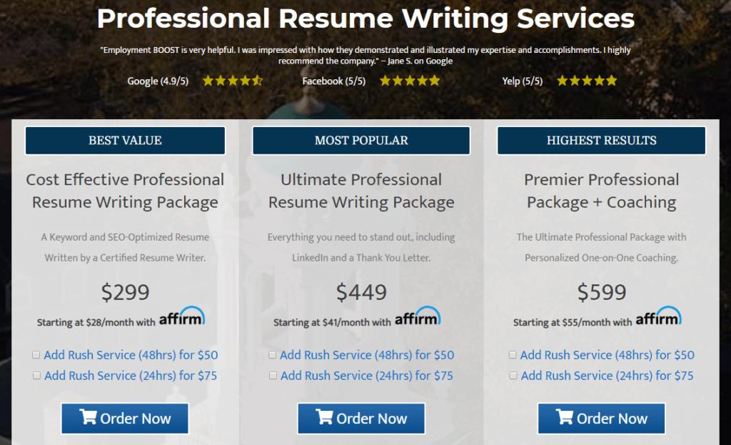 employmentboost com resume prices
