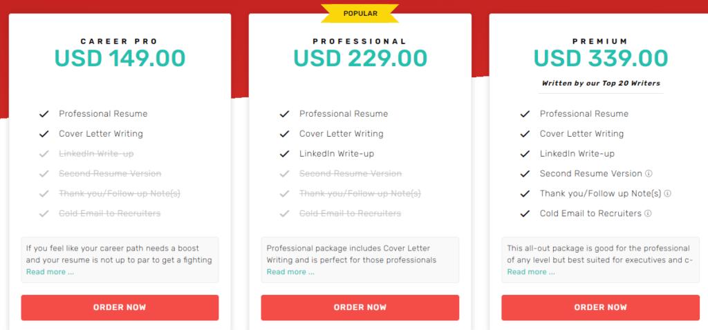 Resumeble pricing